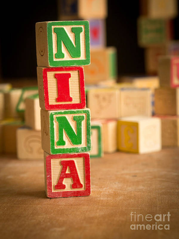 Abcs Art Print featuring the photograph Nina - Alphabet Blocks by Edward Fielding