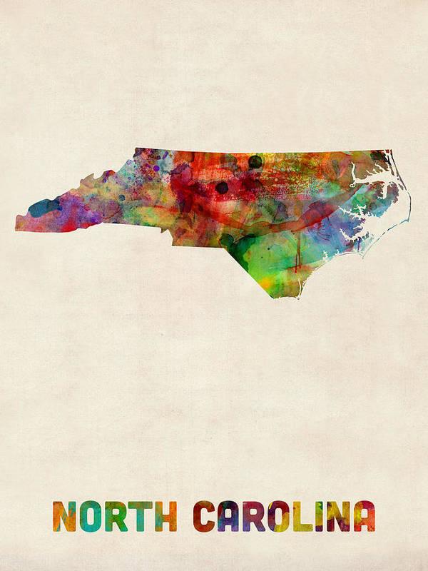 United States Map Art Print featuring the digital art North Carolina Watercolor Map by Michael Tompsett