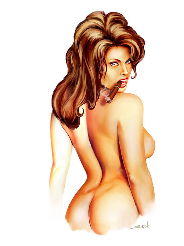 Spano Art Print featuring the painting Nude Cigar Girl By Spano by Michael Spano
