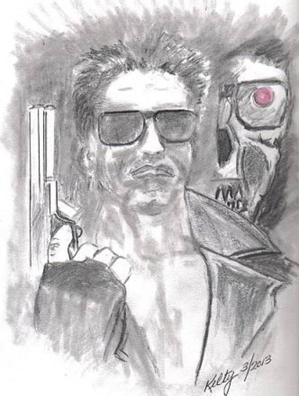 Terminator Art Print featuring the drawing Obama's Nightmare by Gary Kelty