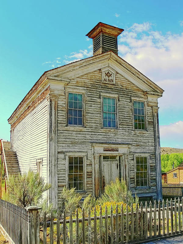 School Print featuring the photograph Old School House Bannack Ghost Town Montana by Jennie Marie Schell