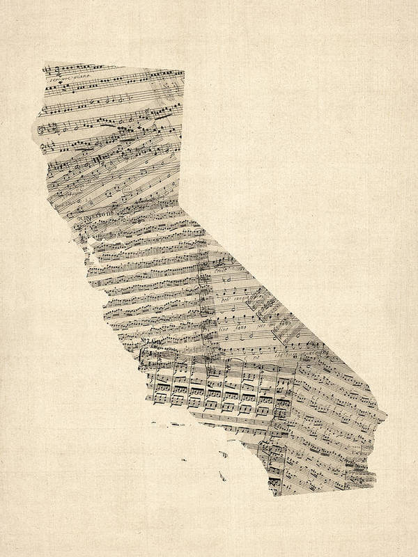 California Map Art Print featuring the digital art Old Sheet Music Map Of California by Michael Tompsett
