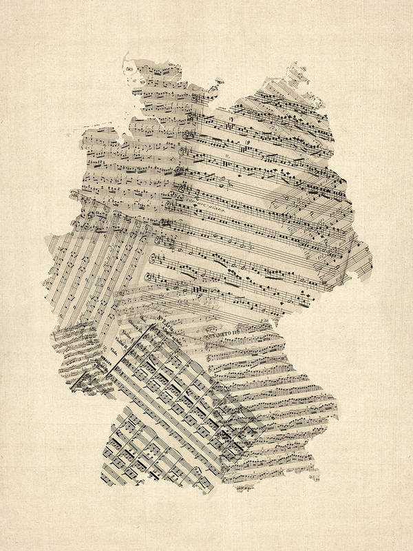 Germany Map Art Print featuring the digital art Old Sheet Music Map Of Germany Map by Michael Tompsett