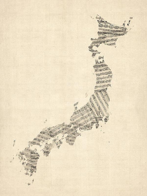 Japan Map Art Print featuring the digital art Old Sheet Music Map Of Japan by Michael Tompsett