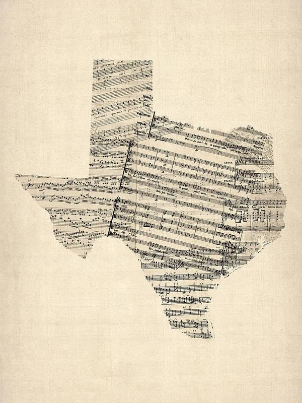 Texas Art Print featuring the digital art Old Sheet Music Map Of Texas by Michael Tompsett