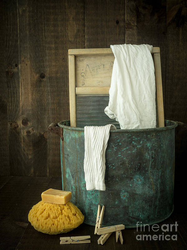 Laundry Art Print featuring the photograph Old Washboard Laundry Days by Edward Fielding