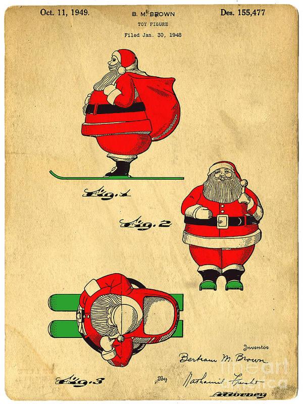 Santa Art Print featuring the digital art Original Patent For Santa On Skis Figure by Edward Fielding