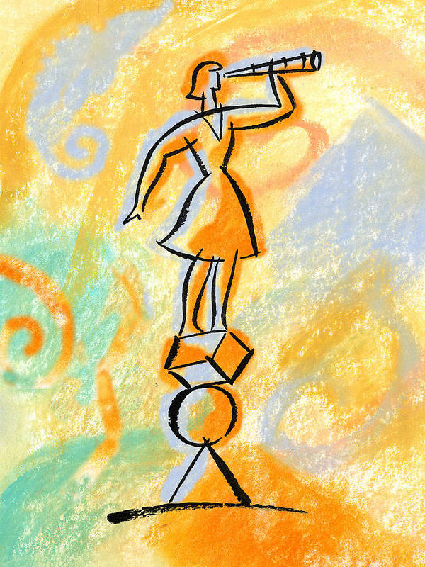 Balancing Boost Business Opportunity Businesswoman Female Future Look Looking Opportunities Opportunity Outlook Oversee Perspective Shape Shapes Supervise Supervision Supervisor Vantage Point Watch Watcher Watchers Watching Woman Art Print featuring the painting Outlook by Leon Zernitsky