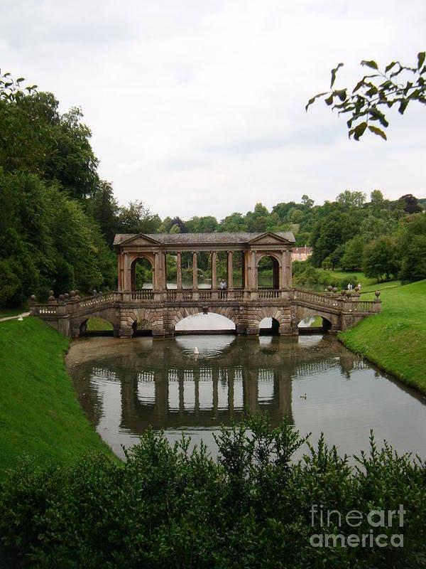 Prior Park Gardens Art Print featuring the photograph Palladian Bridge At Prior Park Landscape Garden by Hannah Southworth
