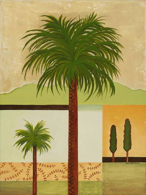Palm Trees Art Print featuring the painting Palm Desert by Carol Sabo