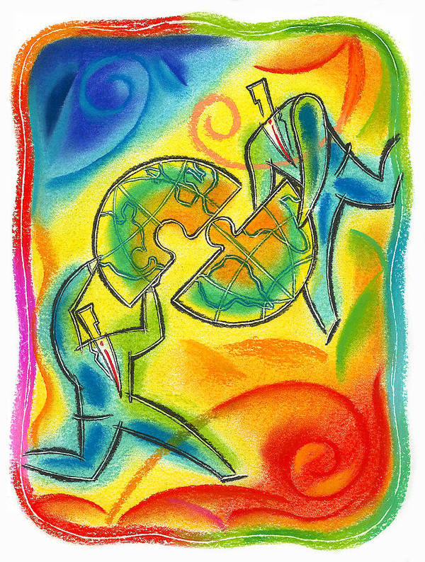Alliance Bond Business World Connect Connected Connecting Connection Corporate Merger Joint Venture Link Linked Linking Merger Merging Partner Partners Partnership Puzzle Piece Team Teamwork World World Commerce World Economy World Market World Trade Worldwide Art Print featuring the painting Partnership by Leon Zernitsky