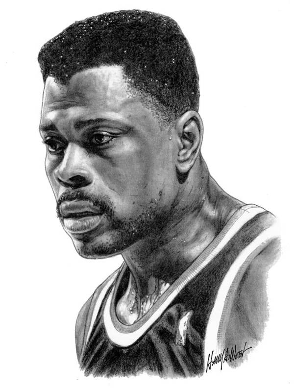 Patrick Ewing Print featuring the drawing Patrick Ewing by Harry West