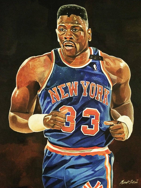 Patrick Ewing Print featuring the painting Patrick Ewing New York Knicks by Michael Pattison