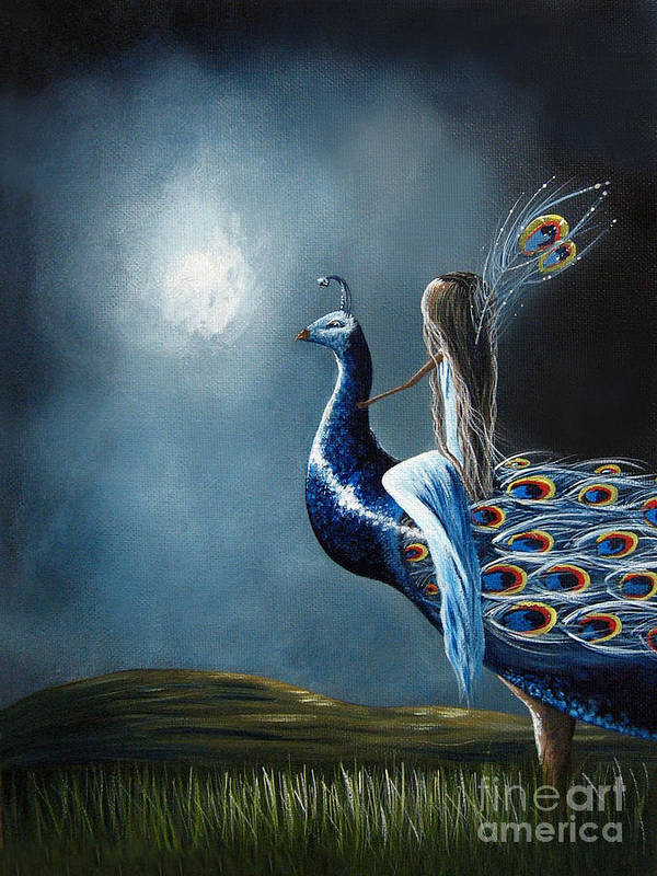Peacock Art Print featuring the painting Peacock Princess By Shawna Erback by Artisan Parlour