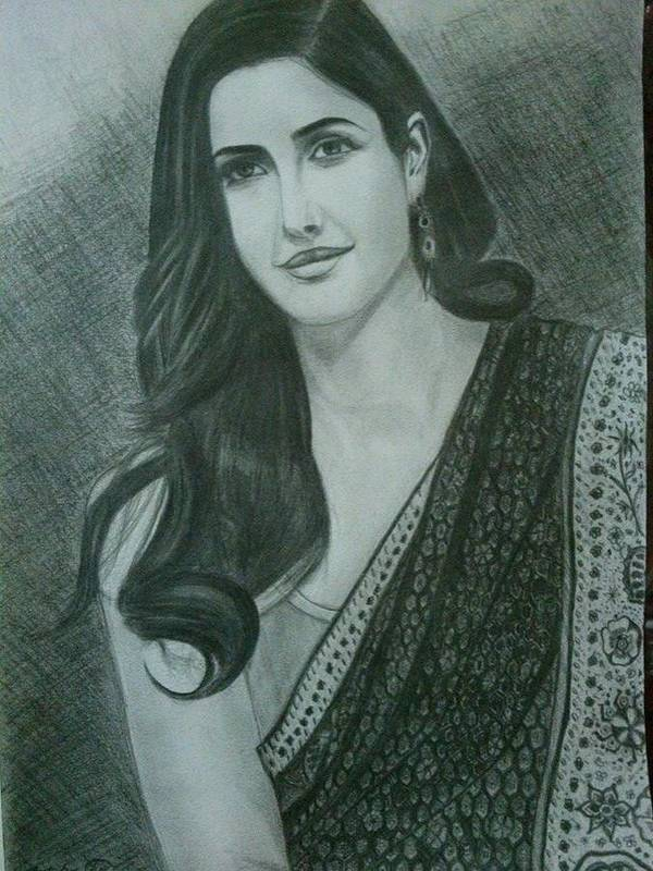 Portrait art print featuring the drawing pencil sketch of katrina kaif by parvez khasim