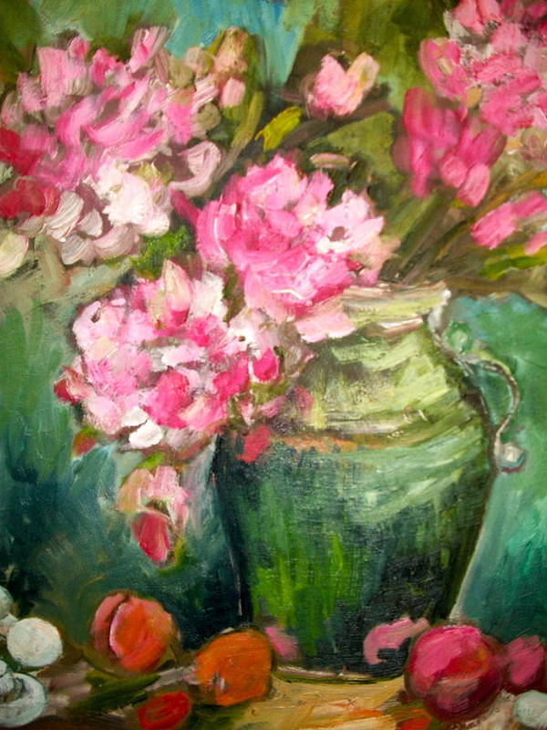 Still Life Art Print featuring the painting Peonies And Peaches by Carol Mangano