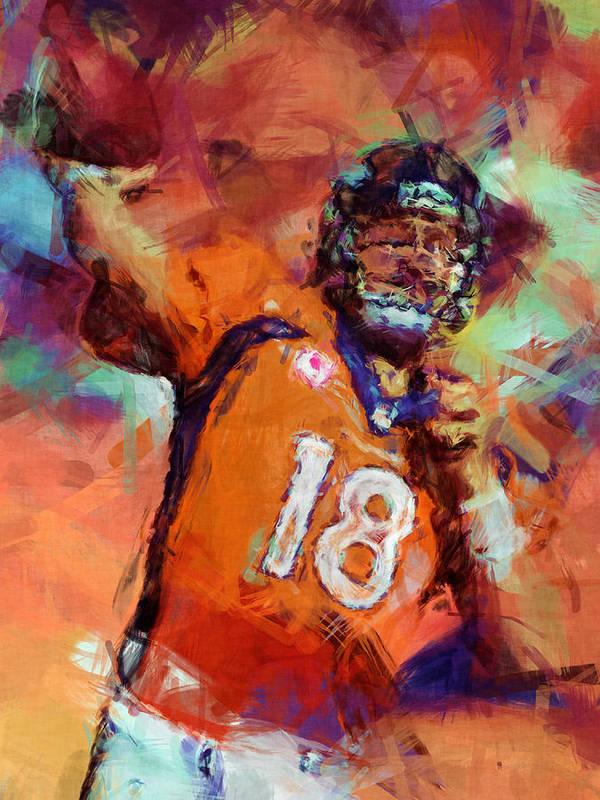 Peyton Art Print featuring the digital art Peyton Manning Abstract 4 by David G Paul