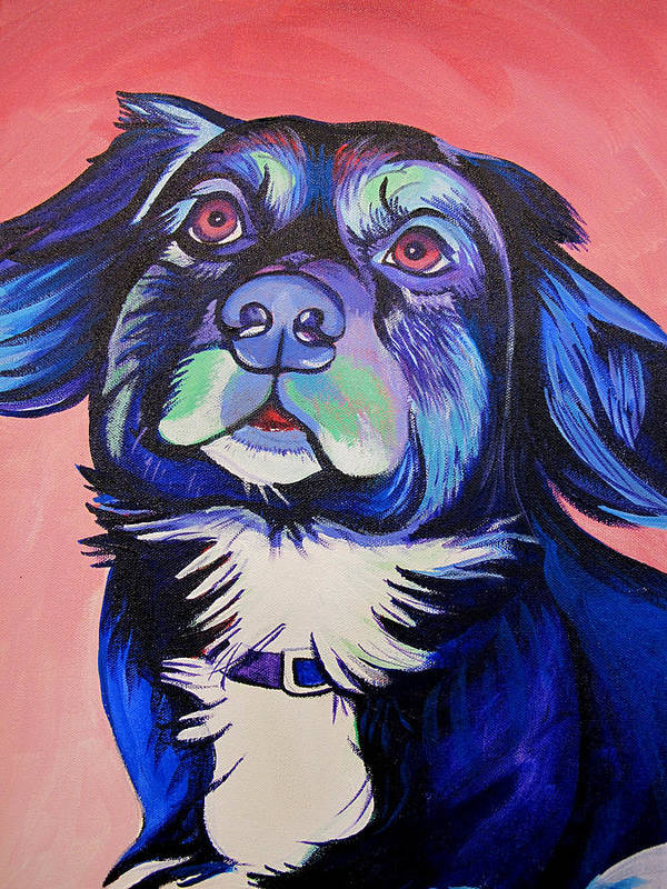 Dog Portraits Art Print featuring the painting Pink And Blue Dog by Joshua Morton