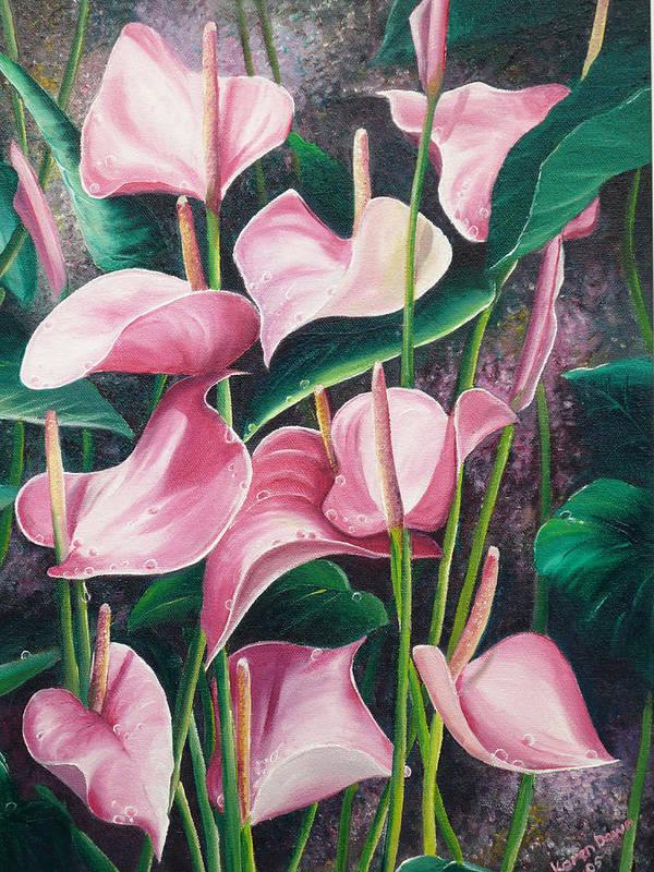 Floral Flowers Lilies Pink Art Print featuring the painting Pink Anthuriums by Karin Dawn Kelshall- Best