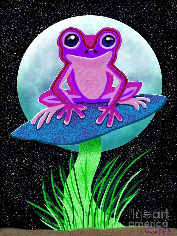 Frog Art Print featuring the drawing Pink Frog And Blue Moon by Nick Gustafson