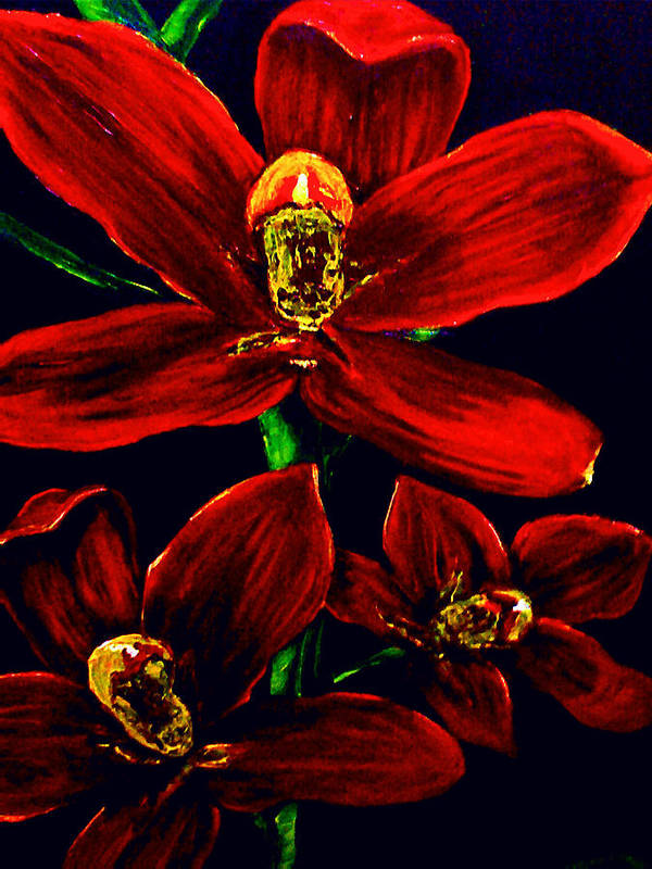 Orchid Art Print featuring the painting Please Love Me Outstandingly Well by Arianne Lequay