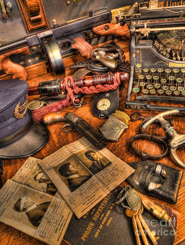 Police Art Print featuring the photograph Police Officer - The Detective's Desk by Lee Dos Santos