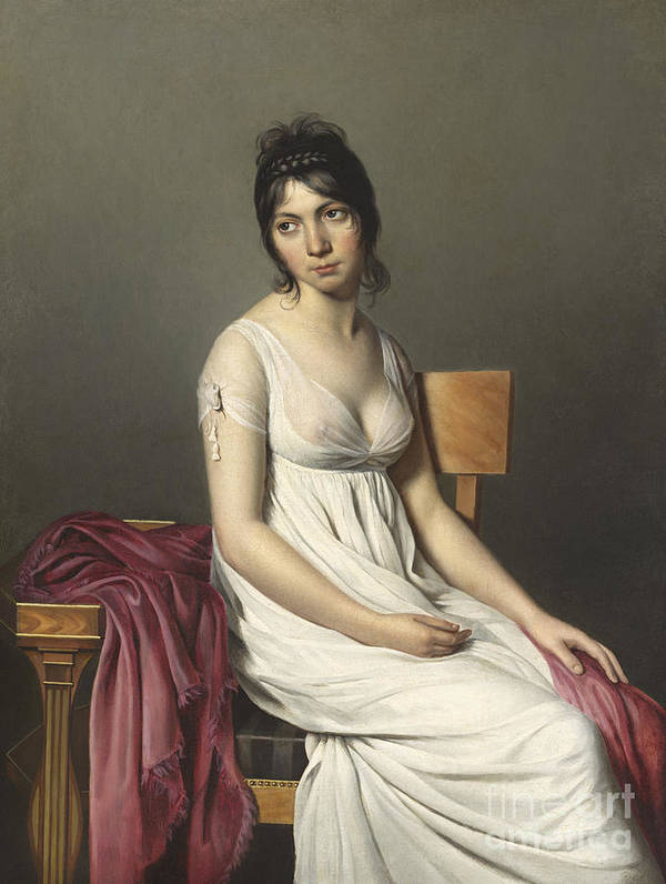 Three; Quarter; Length; Female; Georgian; Costume; Dress; Empire; Line Art Print featuring the painting Portrait Of A Young Woman In White by Jacques Louis David