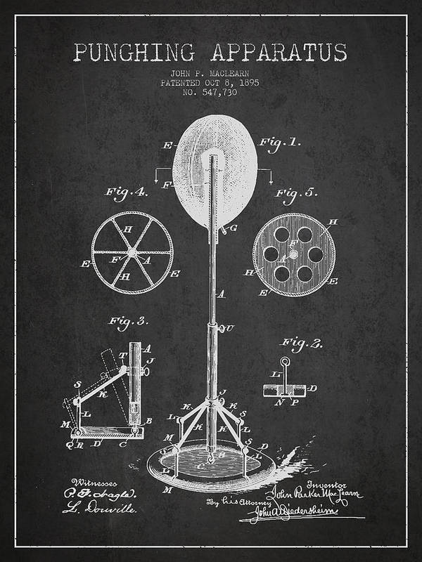 Punching Bag Art Print featuring the digital art Punching Apparatus Patent Drawing From1895 by Aged Pixel