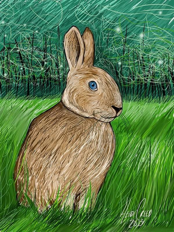Rabbit Art Print featuring the digital art Rabbit In The Grass by Heidi Creed