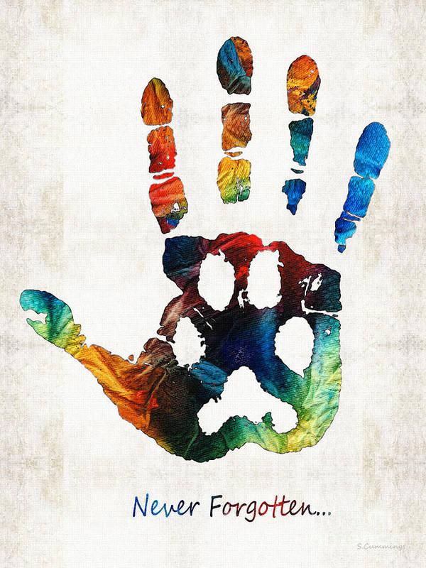 Rainbow Bridge Art Print featuring the painting Rainbow Bridge Art - Never Forgotten - By Sharon Cummings by Sharon Cummings
