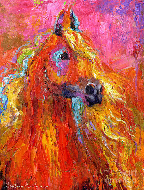 Arabian Horse Painting Art Print featuring the painting Red Arabian Horse Impressionistic Painting by Svetlana Novikova