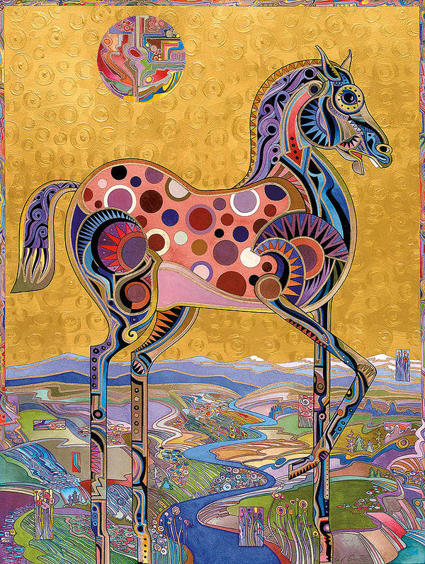 Horse Paintings Art Print featuring the painting Red Stallion Overlook by Bob Coonts