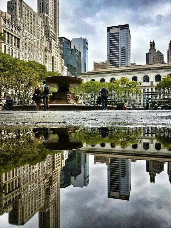 Bryant Park Art Print featuring the photograph Reflecting In Bryant Park by Shmuli Evers