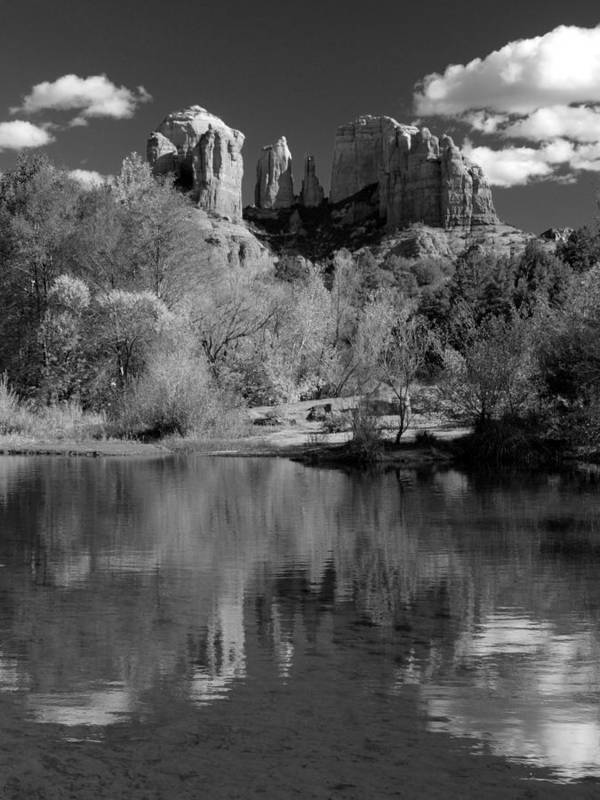 Sedona Art Print featuring the photograph Reflections Of Sedona Black And White by Joshua House