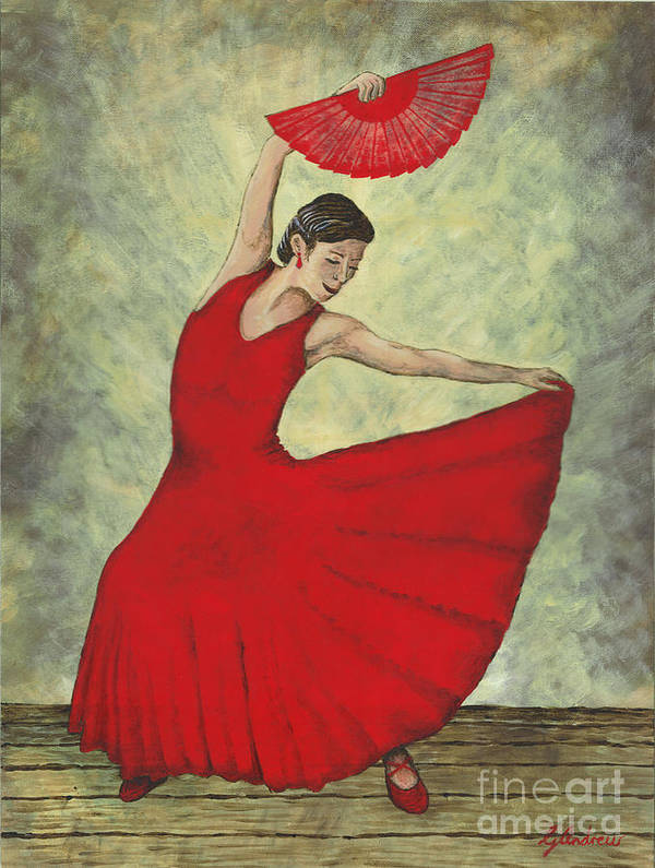 Flamenco Art Print featuring the painting Rhythm Inferno by Gareth Andrew