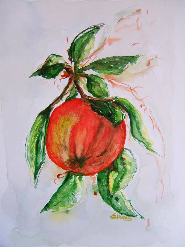 Apple Art Print featuring the painting Ripe And Ready by Elaine Duras
