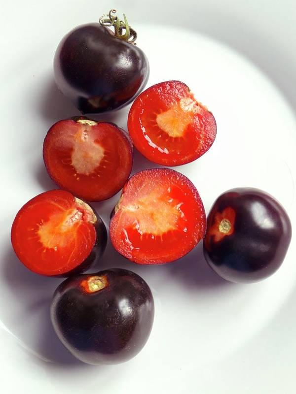 Solanum Lycopersicum Art Print featuring the photograph Ripe Black Tomatoes (indigo Rose) by Ian Gowland