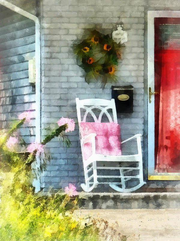 Rocking Chair Art Print featuring the photograph Rocking Chair With Pink Pillow by Susan Savad