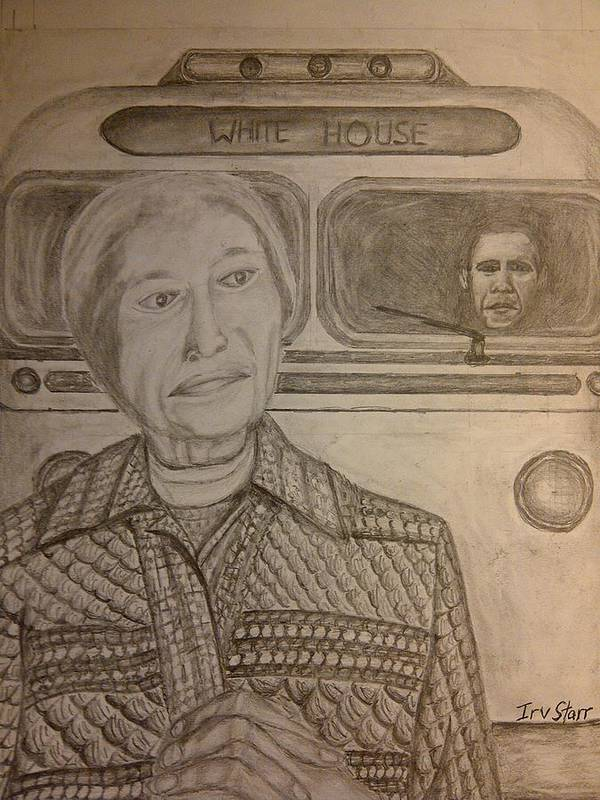 Rosa Parks Art Print featuring the drawing Rosa Parks Imagined Progress by Irving Starr