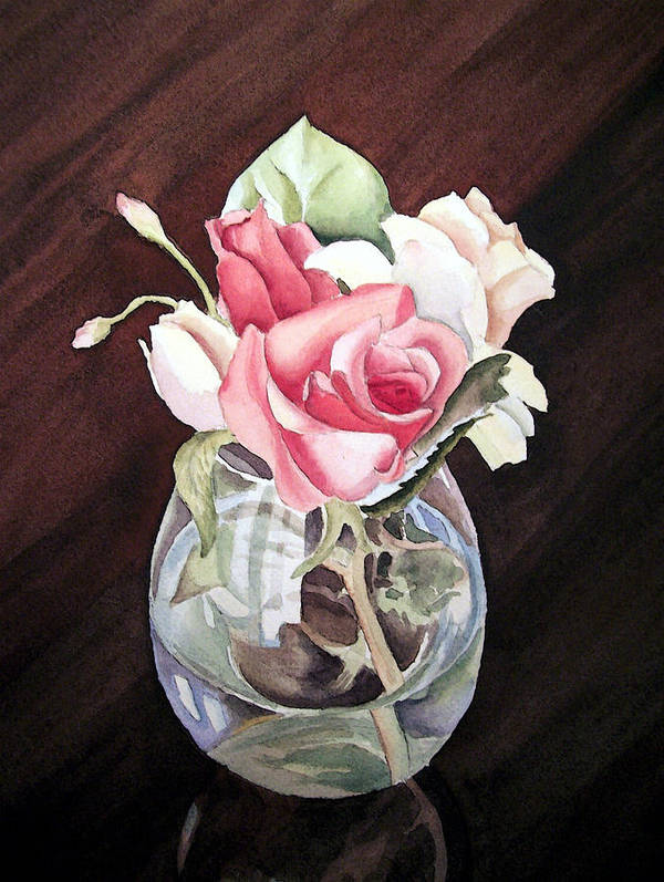 Rose Art Print featuring the painting Roses In The Glass Vase by Irina Sztukowski