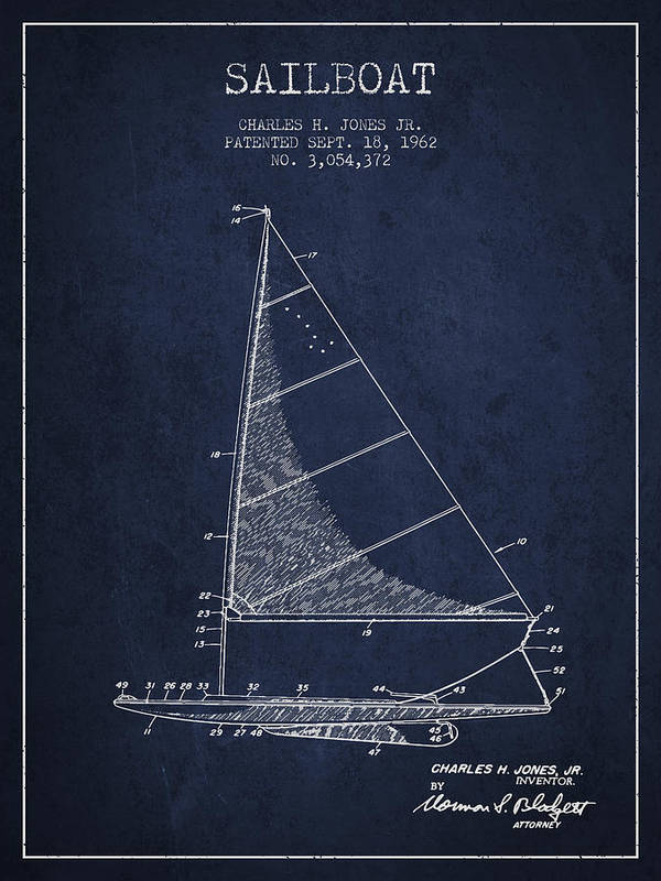 Sailing Art Print featuring the digital art Sailboat Patent From 1962 - Navy Blue by Aged Pixel