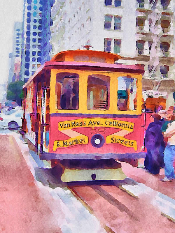 San Art Print featuring the digital art San Francisco Trams 7 by Yury Malkov