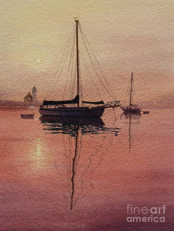 Sailboats Art Print featuring the painting Scituate Serenity by Karol Wyckoff