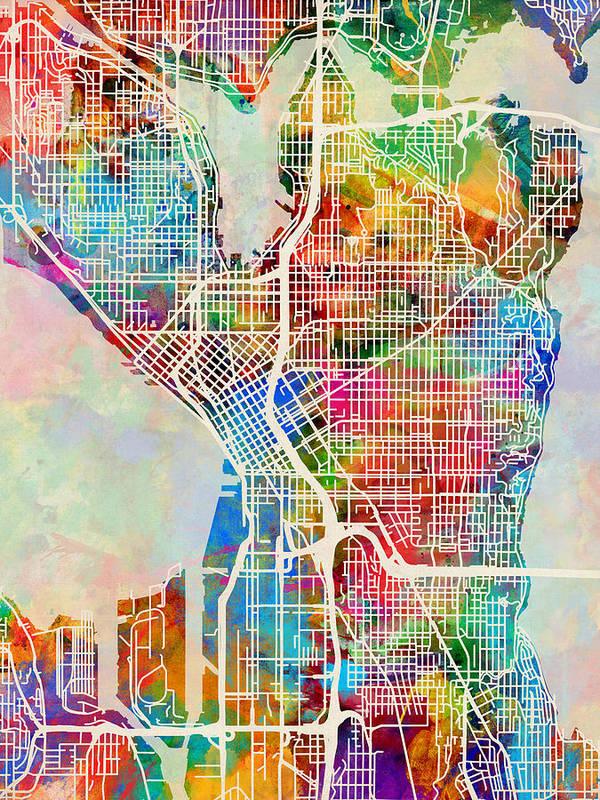 Seattle Washington Street Map Art Print By Michael Tompsett