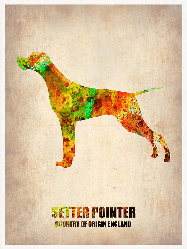 Setter Pointer Art Print featuring the painting Setter Pointer Poster by Naxart Studio