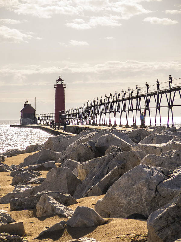Grand Haven Art Print featuring the photograph Setting Spring Sun In Grand Haven by Kirsten Dykstra