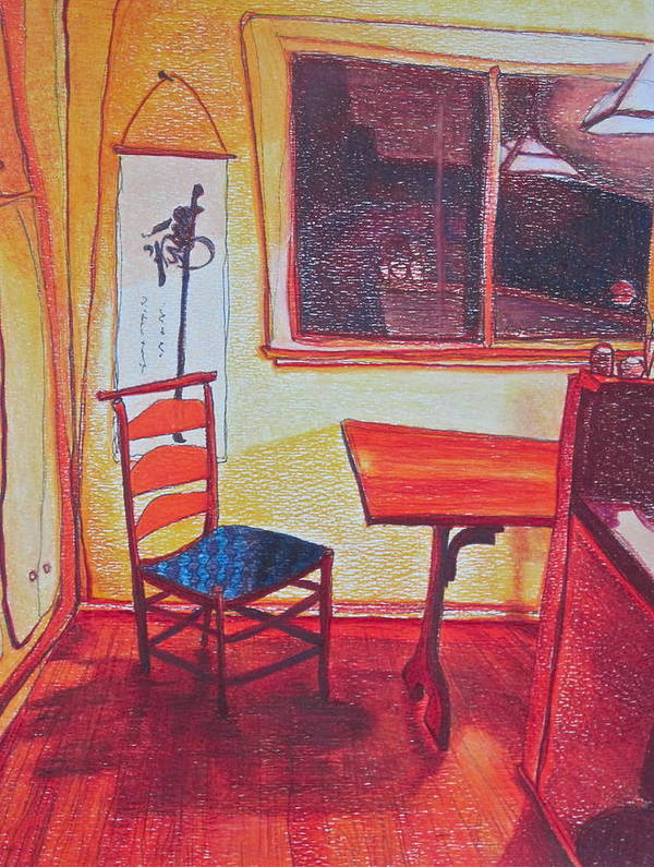 Chair Art Print featuring the drawing Something Like Van Gogh by Catharine Gellings