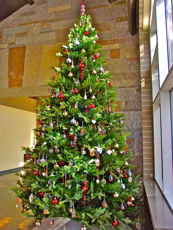 Spanish Christmas Tree Decorations In Fredrik Meijer Gardens And Sculpture  Park In Grand Rapids Art Print - Spanish Christmas Tree Decorations In Fredrik Meijer Gardens And
