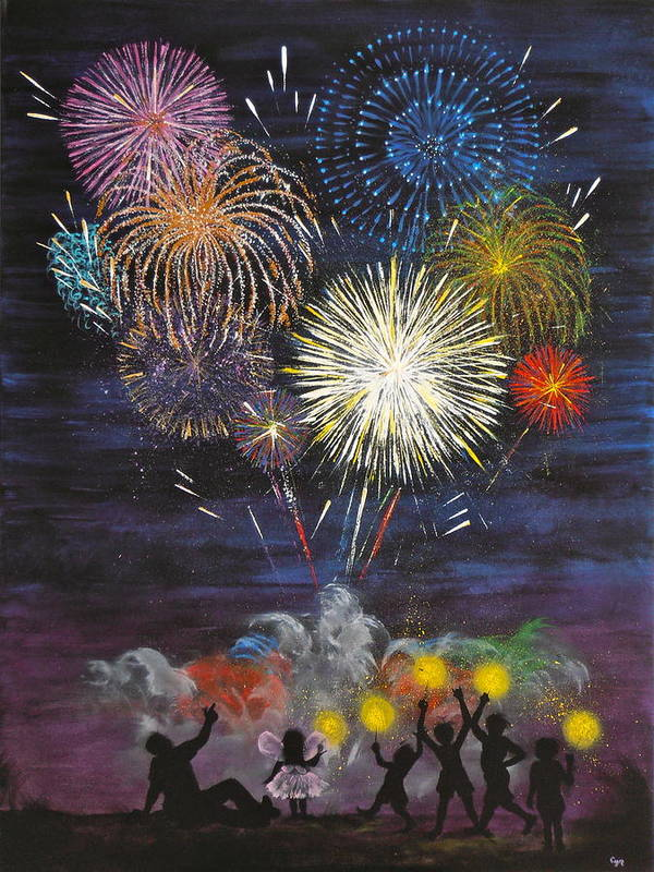 Fireworks Art Print featuring the painting Sparklers by Cynthia Ring