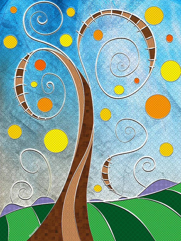 Stylized Landscape Art Print featuring the digital art Spiralscape by Shawna Rowe
